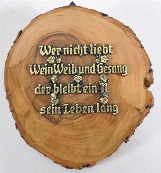 """Holzbild m.Spruch """"Wer nicht liebt.."""" D: ca. 11 cm"""