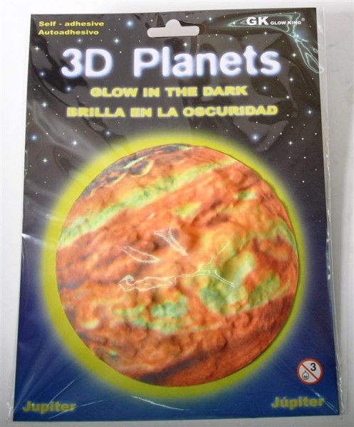 3D Bild Pl.Jupiter, glow in the dark AK, D: ca. 12 cm