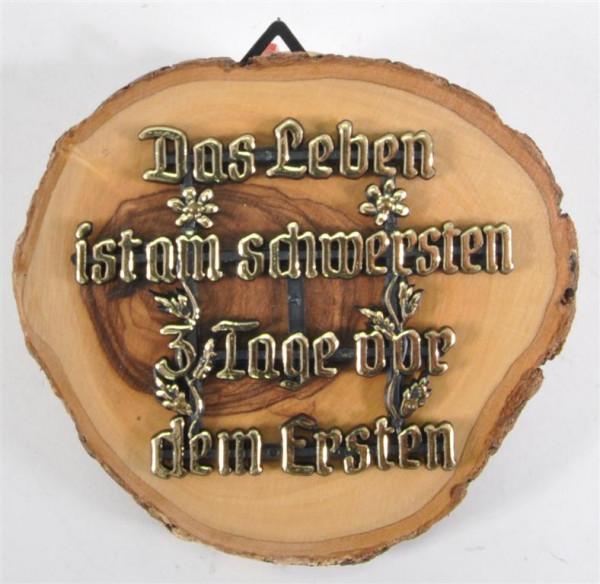 """Holzbild m.Spruch """"Das Leben..."""" D: ca. 9 cm"""