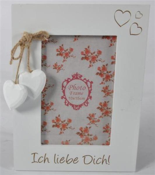 """Holzbilderrahmen weiß m. Herz """"ich liebe"""